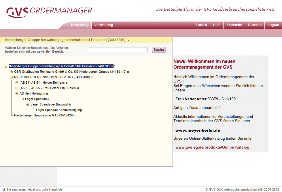 Ordermanager Kundenhierachie