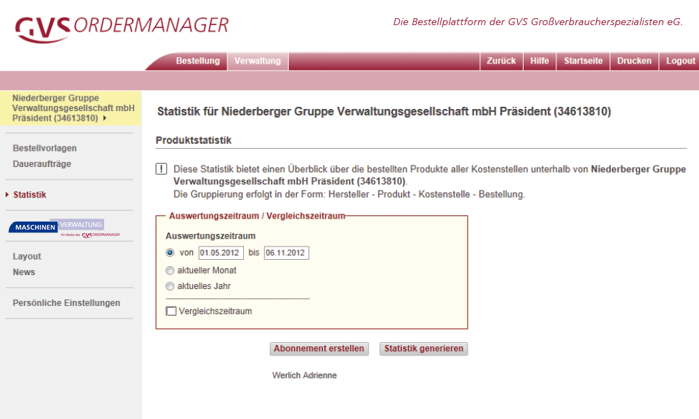 Ordermanager Statistiken